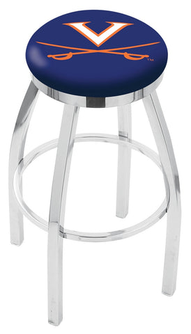 "UVA Cavaliers 30"" L8C2C - Chrome Virginia Swivel Bar Stool with Accent Ring by Holland Bar Stool Company"