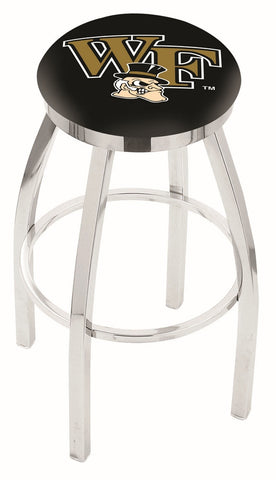 "Wake Forest Demon Deacons 30"" L8C2C - Chrome Wake Forest Swivel Bar Stool with Accent Ring by Holland Bar Stool Company"