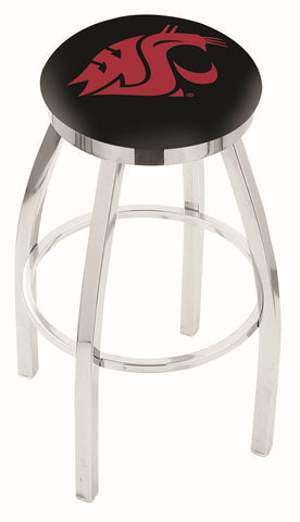 "WSU Cougars 30"" L8C2C - Chrome Washington State Swivel Bar Stool with Accent Ring by Holland Bar Stool Company"
