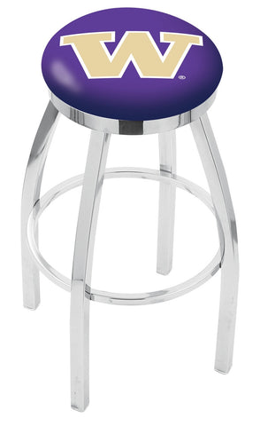 "UW Huskies 30"" L8C2C - Chrome Washington Swivel Bar Stool with Accent Ring by Holland Bar Stool Company"