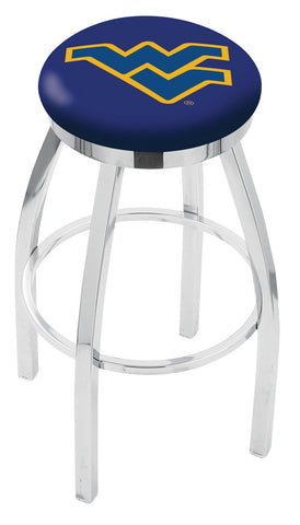 "WVU Mountaineers 30"" L8C2C - Chrome West Virginia Swivel Bar Stool with Accent Ring by Holland Bar Stool Company"