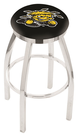"Wichita State  Shockers 30"" L8C2C - Chrome Wichita State Swivel Bar Stool with Accent Ring by Holland Bar Stool Company"