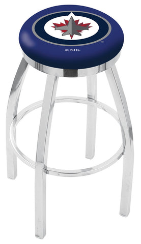 "30"" L8C2C - Chrome Winnipeg Jets Swivel Bar Stool with Accent Ring by Holland Bar Stool Company"
