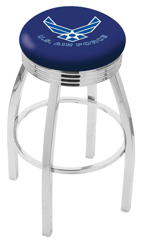 "30"" L8C3C - Chrome U.S. Air Force Swivel Bar Stool with 2.5"" Ribbed Accent Ring by Holland Bar Stool Company"