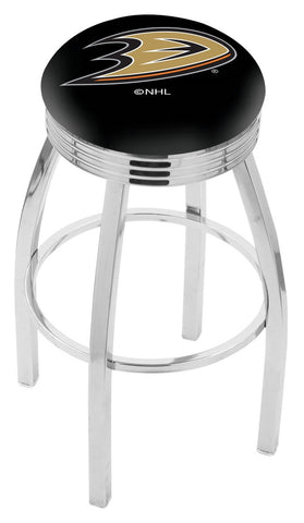 "30"" L8C3C - Chrome Anaheim Ducks Swivel Bar Stool with 2.5"" Ribbed Accent Ring by Holland Bar Stool Company"