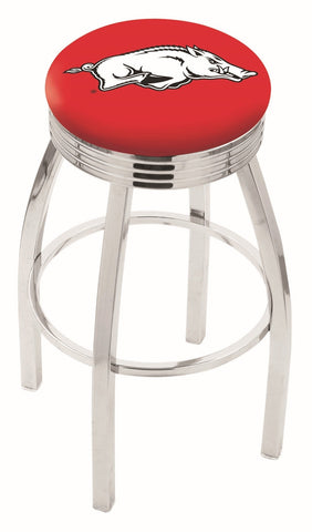 "Arkansas Razorbacks 30"" L8C3C - Chrome Arkansas Swivel Bar Stool with 2.5"" Ribbed Accent Ring by Holland Bar Stool Company"