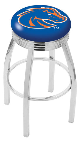 "BSU Broncos 30"" L8C3C - Chrome Boise State Swivel Bar Stool with 2.5"" Ribbed Accent Ring by Holland Bar Stool Company"