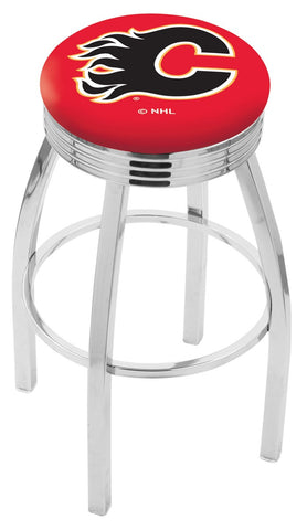 "30"" L8C3C - Chrome Calgary Flames Swivel Bar Stool with 2.5"" Ribbed Accent Ring by Holland Bar Stool Company"