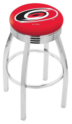 "30"" L8C3C - Chrome Carolina Hurricanes Swivel Bar Stool with 2.5"" Ribbed Accent Ring by Holland Bar Stool Company"