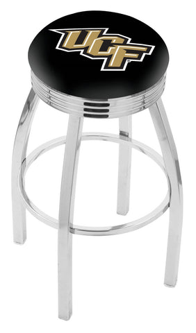 "UCF Knights 30"" L8C3C - Chrome Central Florida Swivel Bar Stool with 2.5"" Ribbed Accent Ring by Holland Bar Stool Company"