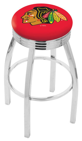 "30"" L8C3C - Chrome Chicago Blackhawks Swivel Bar Stool with 2.5"" Ribbed Accent Ring by Holland Bar Stool Company"