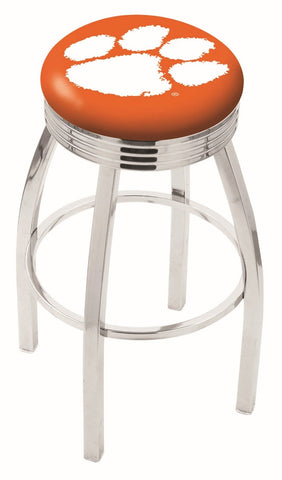 "Clemson  Tigers 30"" L8C3C - Chrome Clemson Swivel Bar Stool with 2.5"" Ribbed Accent Ring by Holland Bar Stool Company"
