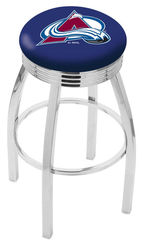 "30"" L8C3C - Chrome Colorado Avalanche Swivel Bar Stool with 2.5"" Ribbed Accent Ring by Holland Bar Stool Company"