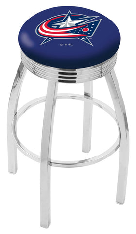 "30"" L8C3C - Chrome Columbus Blue Jackets Swivel Bar Stool with 2.5"" Ribbed Accent Ring by Holland Bar Stool Company"