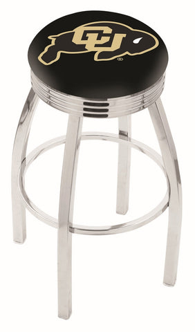 "Colorado Buffaloes 30"" L8C3C - Chrome Colorado Swivel Bar Stool with 2.5"" Ribbed Accent Ring by Holland Bar Stool Company"