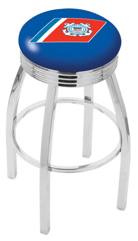 "30"" L8C3C - Chrome U.S. Coast Guard Swivel Bar Stool with 2.5"" Ribbed Accent Ring by Holland Bar Stool Company"