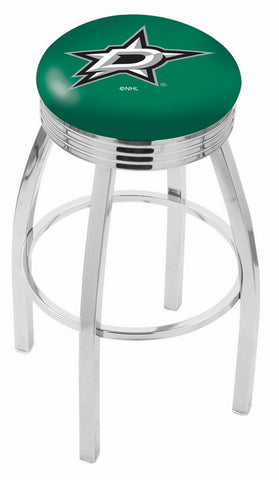 "30"" L8C3C - Chrome Dallas Stars Swivel Bar Stool with 2.5"" Ribbed Accent Ring by Holland Bar Stool Company"