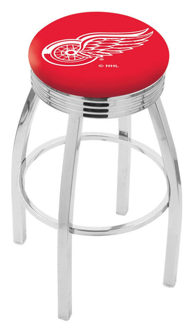 "30"" L8C3C - Chrome Detroit Red Wings Swivel Bar Stool with 2.5"" Ribbed Accent Ring by Holland Bar Stool Company"