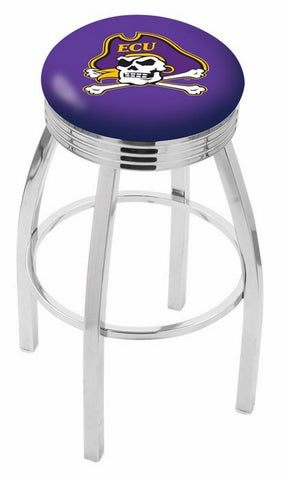 "ECU Pirates 30"" L8C3C - Chrome East Carolina Swivel Bar Stool with 2.5"" Ribbed Accent Ring by Holland Bar Stool Company"