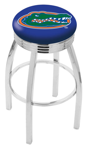 "UF Gators 30"" L8C3C - Chrome Florida Swivel Bar Stool with 2.5"" Ribbed Accent Ring by Holland Bar Stool Company"