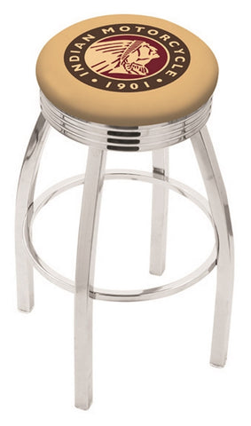 "30"" L8C3C - Chrome Indian Motorcycle Swivel Bar Stool with 2.5"" Ribbed Accent Ring by Holland Bar Stool Company"