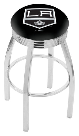 "30"" L8C3C - Chrome Los Angeles Kings Swivel Bar Stool with 2.5"" Ribbed Accent Ring by Holland Bar Stool Company"