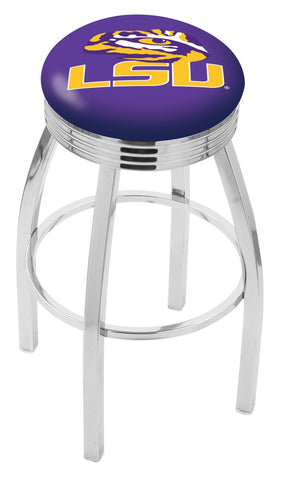 "LSU Tigers 30"" L8C3C - Chrome Louisiana State Swivel Bar Stool with 2.5"" Ribbed Accent Ring by Holland Bar Stool Company"