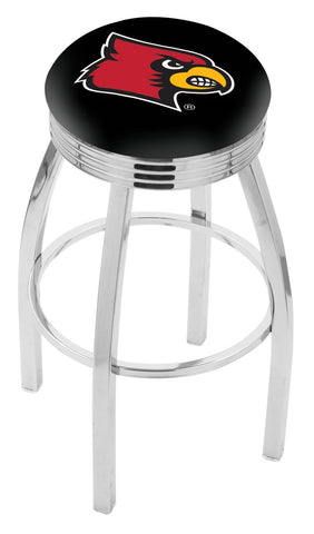 "UofL Cardinals 30"" L8C3C - Chrome Louisville Swivel Bar Stool with 2.5"" Ribbed Accent Ring by Holland Bar Stool Company"