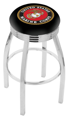 "30"" L8C3C - Chrome U.S. Marines Swivel Bar Stool with 2.5"" Ribbed Accent Ring by Holland Bar Stool Company"