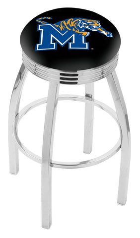"Memphis Tigers 30"" L8C3C - Chrome Memphis Swivel Bar Stool with 2.5"" Ribbed Accent Ring by Holland Bar Stool Company"