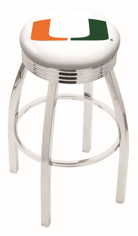 "Miami Hurricanes 30"" L8C3C - Chrome Miami (FL) Swivel Bar Stool with 2.5"" Ribbed Accent Ring by Holland Bar Stool Company"