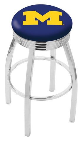 "Michigan Wolverines 30"" L8C3C - Chrome Michigan Swivel Bar Stool with 2.5"" Ribbed Accent Ring by Holland Bar Stool Company"