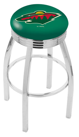 "30"" L8C3C - Chrome Minnesota Wild Swivel Bar Stool with 2.5"" Ribbed Accent Ring by Holland Bar Stool Company"