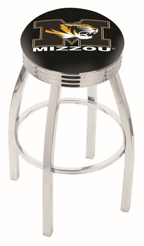 "Mizzou Tigers 30"" L8C3C - Chrome Missouri Swivel Bar Stool with 2.5"" Ribbed Accent Ring by Holland Bar Stool Company"