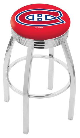 "30"" L8C3C - Chrome Montreal Canadiens Swivel Bar Stool with 2.5"" Ribbed Accent Ring by Holland Bar Stool Company"