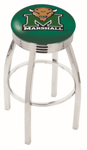"Marshall  Thundering Herd 30"" L8C3C - Chrome Marshall Swivel Bar Stool with 2.5"" Ribbed Accent Ring by Holland Bar Stool Company"