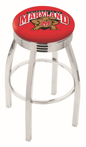 "UM Terrapins 30"" L8C3C - Chrome Maryland Swivel Bar Stool with 2.5"" Ribbed Accent Ring by Holland Bar Stool Company"