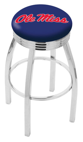 "Ole Miss Rebels 30"" L8C3C - Chrome Ole' Miss Swivel Bar Stool with 2.5"" Ribbed Accent Ring by Holland Bar Stool Company"