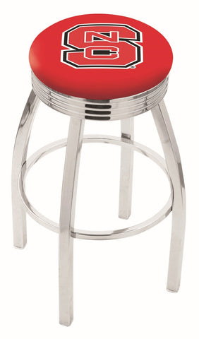"NC State Wolfpack 30"" L8C3C - Chrome North Carolina State Swivel Bar Stool with 2.5"" Ribbed Accent Ring by Holland Bar Stool Company"