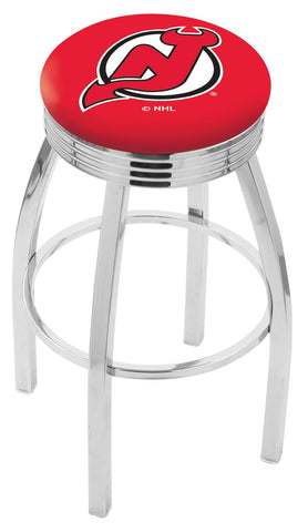 "30"" L8C3C - Chrome New Jersey Devils Swivel Bar Stool with 2.5"" Ribbed Accent Ring by Holland Bar Stool Company"
