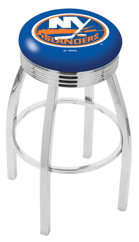 "30"" L8C3C - Chrome New York Islanders Swivel Bar Stool with 2.5"" Ribbed Accent Ring by Holland Bar Stool Company"