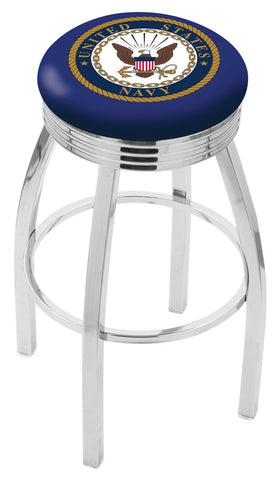 "30"" L8C3C - Chrome U.S. Navy Swivel Bar Stool with 2.5"" Ribbed Accent Ring by Holland Bar Stool Company"