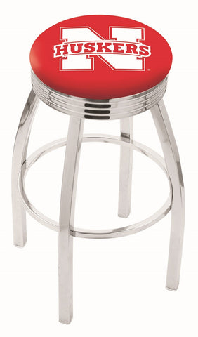 "Nebraska Cornhuskers 30"" L8C3C - Chrome Nebraska Swivel Bar Stool with 2.5"" Ribbed Accent Ring by Holland Bar Stool Company"