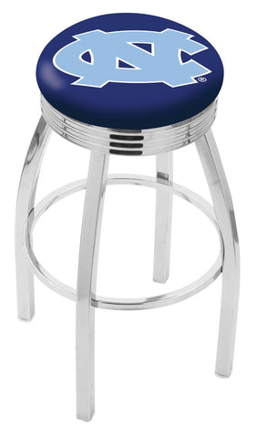 "UNC Tar Heels 30"" L8C3C - Chrome North Carolina Swivel Bar Stool with 2.5"" Ribbed Accent Ring by Holland Bar Stool Company"