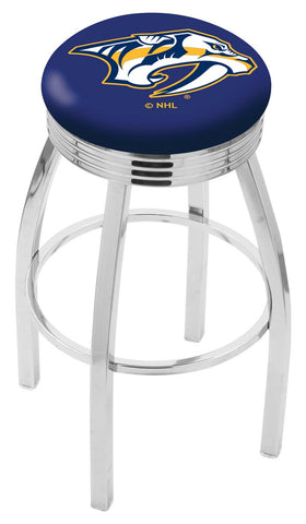 "30"" L8C3C - Chrome Nashville Predators Swivel Bar Stool with 2.5"" Ribbed Accent Ring by Holland Bar Stool Company"