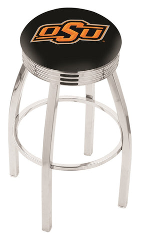 "OSU Cowboys 30"" L8C3C - Chrome Oklahoma State Swivel Bar Stool with 2.5"" Ribbed Accent Ring by Holland Bar Stool Company"