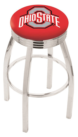 "OSU Buckeyes 30"" L8C3C - Chrome Ohio State Swivel Bar Stool with 2.5"" Ribbed Accent Ring by Holland Bar Stool Company"