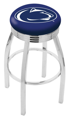 "PSU Nittany Lions 30"" L8C3C - Chrome Penn State Swivel Bar Stool with 2.5"" Ribbed Accent Ring by Holland Bar Stool Company"
