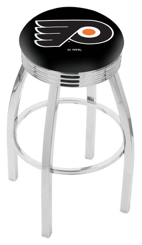 "30"" L8C3C - Chrome Philadelphia Flyers Swivel Bar Stool with 2.5"" Ribbed Accent Ring by Holland Bar Stool Company"
