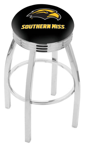 "Southern Miss Golden Eagles 30"" L8C3C - Chrome Southern Miss Swivel Bar Stool with 2.5"" Ribbed Accent Ring by Holland Bar Stool Company"